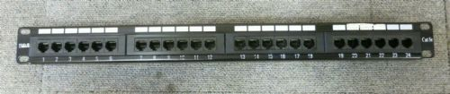 "Gerenic T568A/B 19"" CAT5e 1U 24 Port RJ45 Elite Patch Panel Black"